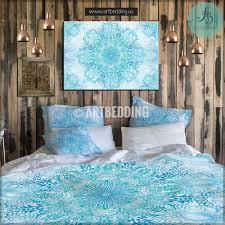 Twin Duvet Bohemian Bedding Boho Mandala Duvet Cover Blue And Green Balance