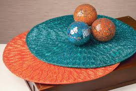teal and orange place mats crackle glass balls tripar