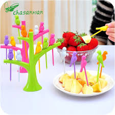 cuisiner le fruit de l arbre à 1 set oiseau fruits collation fourchettes à dessert outil arbre