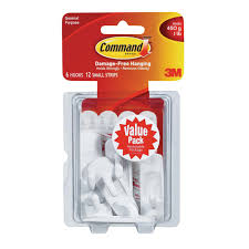 adhesive wall hooks 3m command small utility hook 2 3 8 in l plastic 1 lb per hook 6