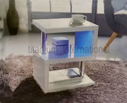 High Gloss Side Table New Modern Design White High Gloss Coffee Side Table With Blue Led