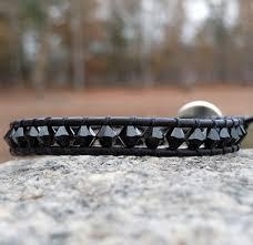 swarovski crystal leather bracelet images Swarovski crystal leather wrap bracelets jet black onsra jpg