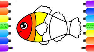 fish coloring pages kindergarten draw fish water