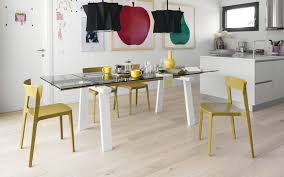 calligaris echo extending table contemporary dining table wooden metal tempered glass