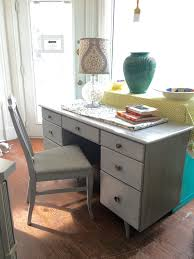 804 mid century modern desk vanity painted in driftwood grey