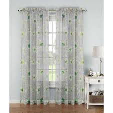 Turquoise Ruffle Curtains Sheer Curtains U0026 Drapes Window Treatments The Home Depot