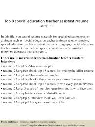 Teacher Aide Resume Sample Free Top8specialeducationteacherassistantresumesamples 150513000043 Lva1 App6892 Thumbnail 4 Jpg Cb U003d1431475287