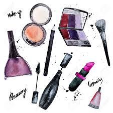vector watercolor set of glamorous make up set of cosmetics