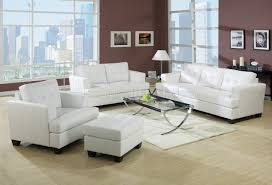 White Leather Living Room Set Bonded Leather Living Room 15095 White