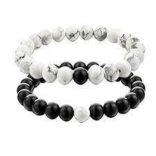 white bead bracelet images Ueuc his and hers couple yin yang bracelet black matte jpg