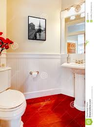 Small Elegant Bathrooms White Small Elegant Bathroom With Red Wood Floor Royalty Free