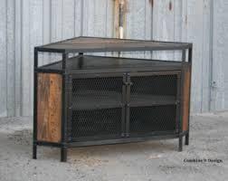 distressed corner tv cabinet modern industrial tv stand reclaimed wood steel vintage