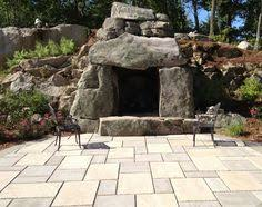 Landscape Fire Features And Fireplace Image Gallery Outdoor Fireplace With Flagstone Hearth Stone Veneer Accents And