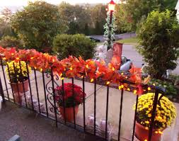Fall Railing Decorations On The Balcony At Me Venue Fall Theme