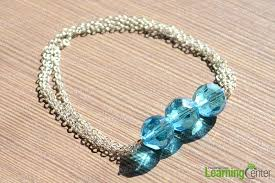 diy bead chain bracelet images Diy craft design how to make blue bead bracelet with chain jpg