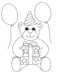 balloons teddy bear coloring pages place color