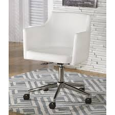 ashley baraga faux leather adjule office swivel chair in white