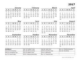 2017 year calendar template us holidays free printable templates