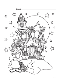 printable halloween witch castle coloring pagesfree printable