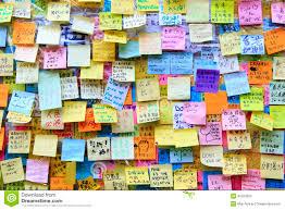 wall of wishes at umbrella revolution in hong kong editorial image