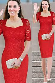 kate middleton style short sleeves red lace knee length