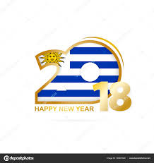 Flag Uruguay Year 2018 With Uruguay Flag Pattern Happy New Year Design