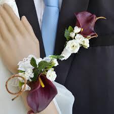 calla boutonniere 6pcs pu handmade artificial calla boutonniere party wedding