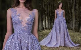 lavender illusion wedding dress with plunging neckline by paolo