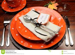 Thanksgiving Dinner Table by Thanksgiving Dinner Table Place Setting With Orange Plates And