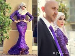 Muslim Engagement Dresses Purple Lace Hijab Muslim Long Sleeves Prom Dresses With Beaded