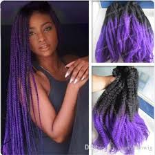 ombre marley hair ombre synthetic marley braid 20 black purple kanekalon synthetic