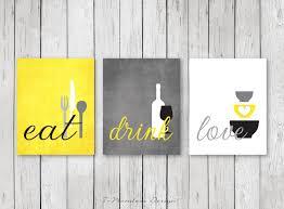 grey and yellow kitchen ideas kitchen wall print set eat drink yellow grey