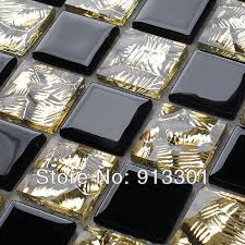black and gold glass tile mosaic blend mosaic pattern kitchen