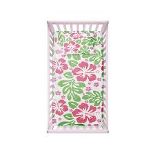 Hibiscus Crib Bedding Pink And Green Hibiscus Hawaiian Baby Bedding Set Extremely Stoked