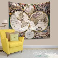 vintage world map wall tapestry world map wall hanging artbedding