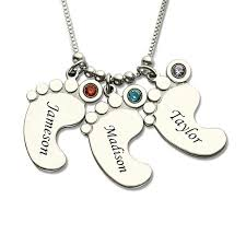 kids name necklace jewelry silver baby charm necklace with birthstone kids