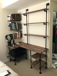 walnut corner computer desk shelves magnificent industrial pipe and walnut l shaped desk