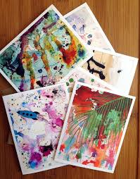 boxed set of six folded note cards printed with a mix of my original