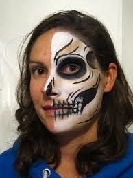 Halloween Skull Face Makeup by Half Skull Face Paint Tutorial Coochiecrunch