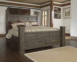 Poster Bed by Juararo Dark Brown B251 King Poster Bed With Storage