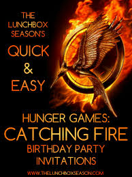 quick u0026 easy hunger games catching fire birthday party invitations