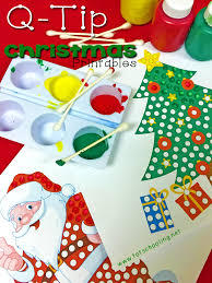 christmas q tip painting printables totschooling toddler