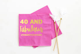 personalized birthday napkins 40th birthday party supplies 40 and