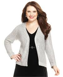 jones new york collection plus size sequined cardigan in gray lyst