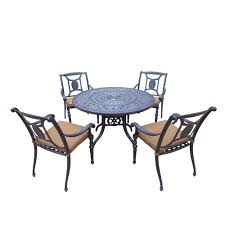 Aluminum Patio Furniture Set by Home Styles Biscayne 42 In White 5 Piece Round Swivel Patio