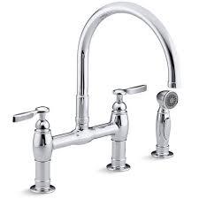 kohler gooseneck kitchen faucet kohler k 6131 4 cp parq polished chrome two handle bridge kitchen
