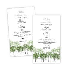 wedding menu cards template summer forest wedding menu card template a j s prints