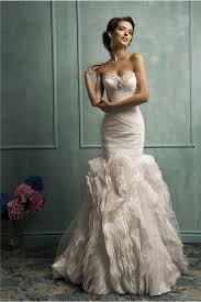 Mermaid Strapless Corset Organza Ruffle Lace Wedding Dress With