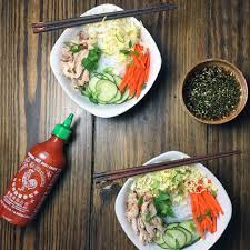 grilled lemongrass chicken and vietnamese rice noodle salad
