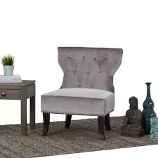simpli home kitchener grey velour tufted accent chair axckits73o5g